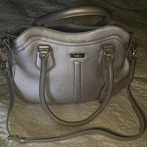 Cole Haan Peeble Silver Satchel Cross Body Bag